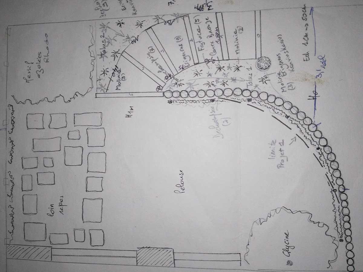 Le projet : un niveau haut en sortie de salon, quelques marches pour rejoindre le niveau bas du jardin. Une retenue de terre de 1 mètre de haut avec des pieux en acacia de 2 mètres.